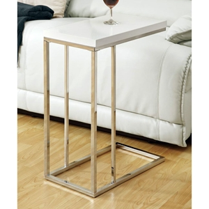 Grisham Contemporary Side Table - Chrome Stand, White Top
