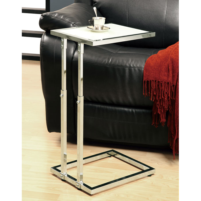 Olea Adjustable Height End Table Glossy White Chrome