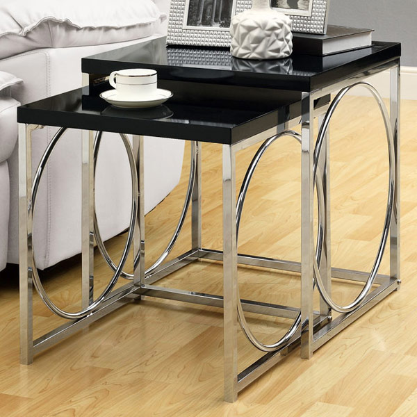Martell 2 Piece Nesting Tables Set - Glossy Black, Ring Accents - MNRH-I-3022