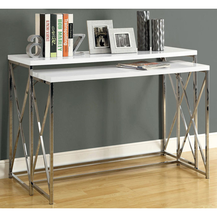 Beautiful Martell 2 Piece Nesting Console Tables Set   Chrome, White   MNRH I  ...