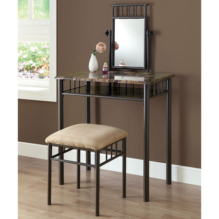 Illusion Vanity Table And Stool Set   Mirror, Bronze Finish, Metal   MNRH   ...