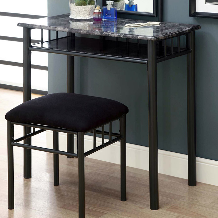 Illusion Vanity Table and Stool Set - Black Chenille Seat - MNRH-I-3062