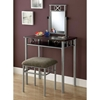 Imagine Vanity Table and Stool Set - Silver Metal, Chenille Seat - MNRH-I-3072