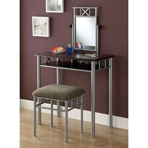 Imagine Vanity Table and Stool Set - Silver Metal, Chenille Seat
