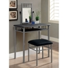 Infinity Vanity Table and Stool Set - Silver Metal, Microfiber Seat - MNRH-I-3092