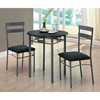 Infinity 3 Piece Bistro Set - Black, Dark Silver Metal - MNRH-I-3095