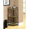 Eminence 3-Tier Corner Display Shelf - Tiger Patterned Glass - MNRH-I-3121
