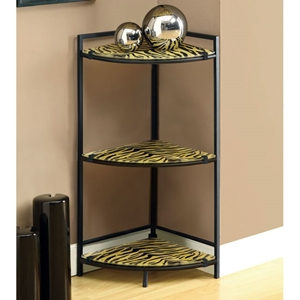 Eminence 3-Tier Corner Display Shelf - Tiger Patterned Glass