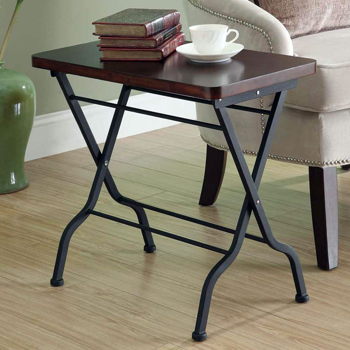Desire Folding Side Table - Cherry Finished Top, Charcoal Black - MNRH-I-3309