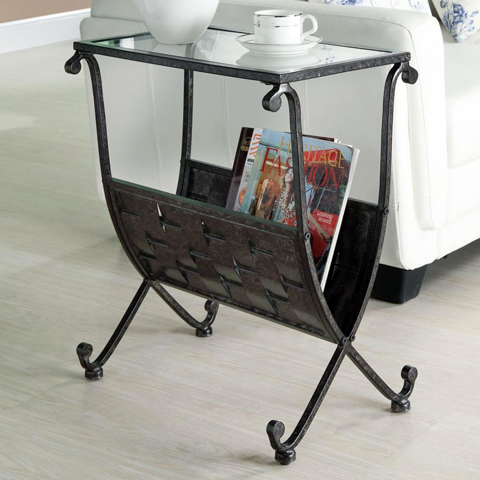 Admiration Side Table - Weave Patterned Magazine Holder - MNRH-I-3313
