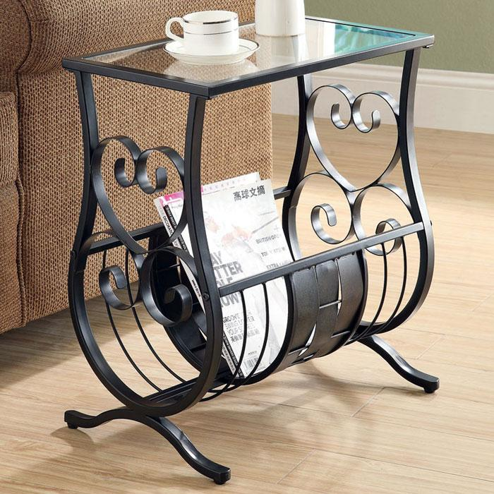 Passion Side Table with Magazine Rack - Satin Black, Glass Top - MNRH-I-3314
