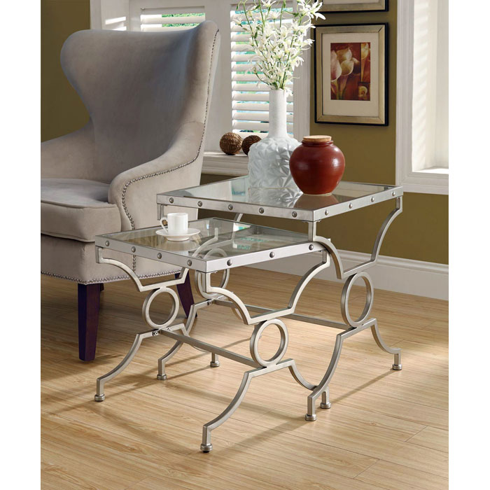 Vheissu 2 Piece Nesting Tables Set - Satin Silver, Clear Glass - MNRH-I-3321
