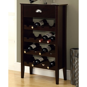 Cadenza Contemporary Wine Rack - Cappuccino, One Drawer