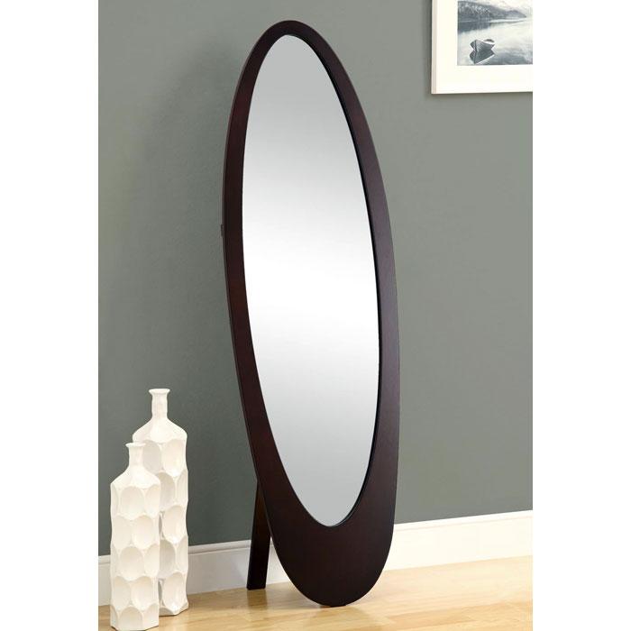 Canzone Contemporary Floor Mirror Oval Cappuccino