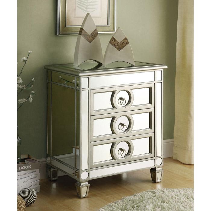 alcott mirror nightstand end table silver finish 3 drawers mnrhi
