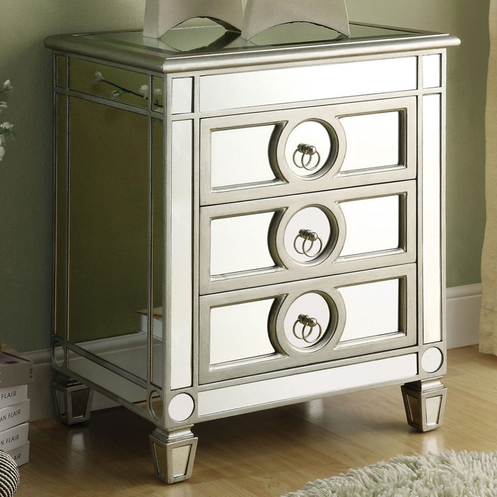 Alcott Mirror Nightstand End Table Silver Finish 3 Drawers Dcg Stores