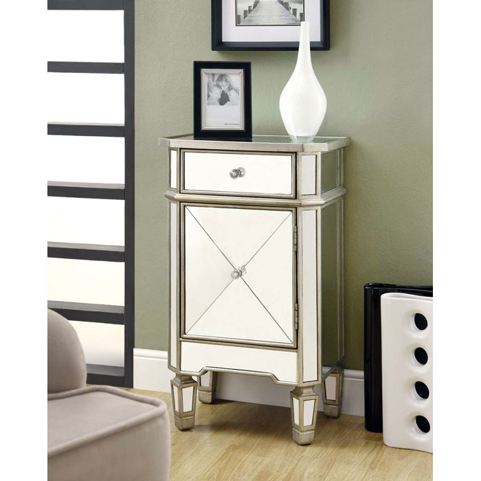Nightingale Mirror Accent Table - Silver Finish, 1 Drawer, Cabinet - MNRH-I-3702