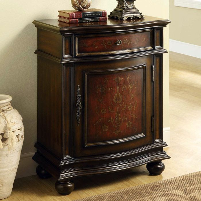 Fleming Tall Nightstand Cherry 1 Drawer 1 Cabinet