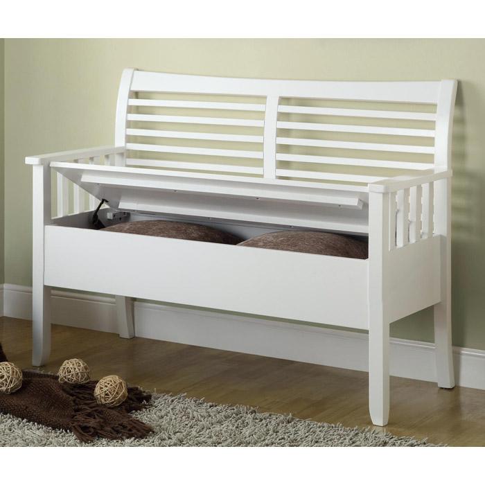 Faraday Wood Storage Bench Slat Back White Finish Dcg Stores