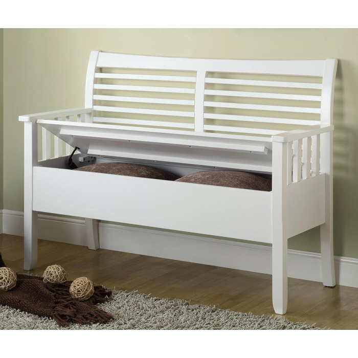 4506 White Solid Wood Storage Bench I 4506 Monarch: Faraday Wood Storage Bench - Slat Back, White Finish
