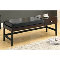 Averill 48%27%27 Backless Bench - Dark Brown Cushion, Side Drawer