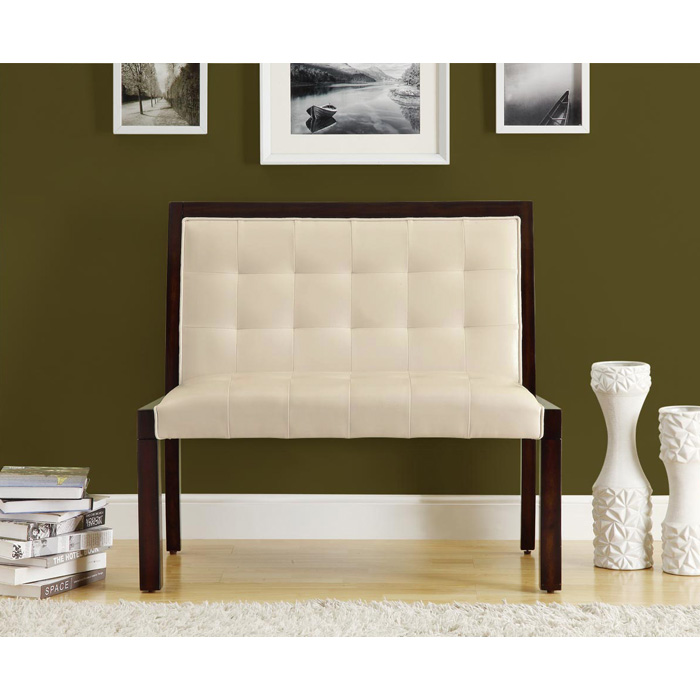 Corliss Bench - Cappuccino, Tufted, Taupe Upholstery - MNRH-I-4531