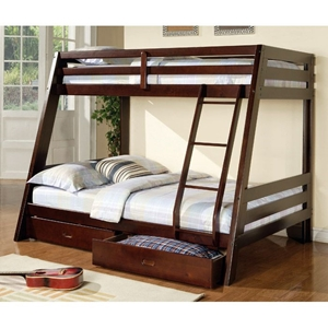 Dickinson Twin / Full Size Bunk Bed - 2 Drawers, Cappuccino
