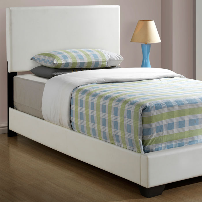 Esmeralda twin size panel bed white upholstery tapered feet dcg