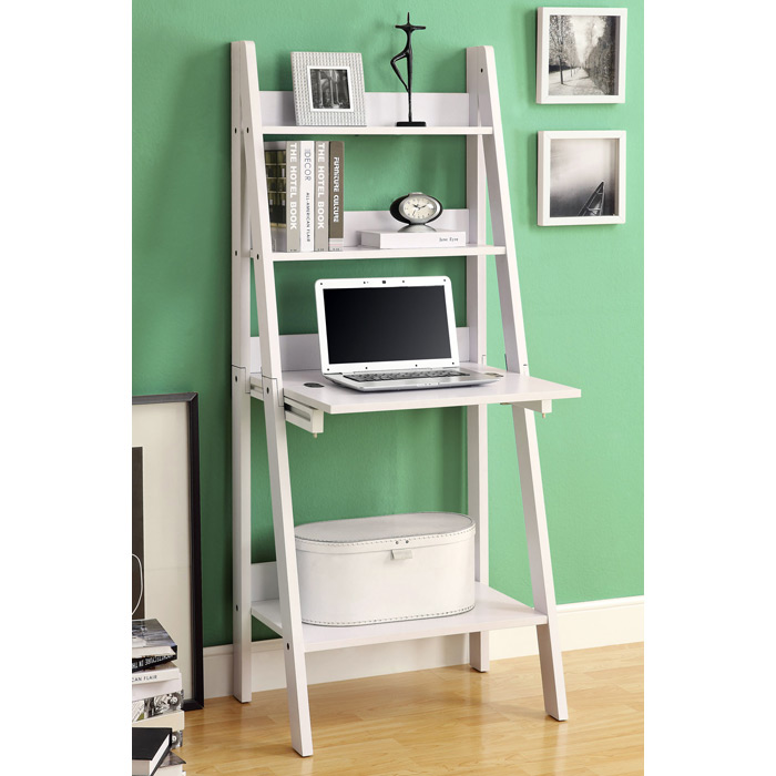 Edith Ladder Style Bookcase - Drop-Down Desk, White  DCG Stores