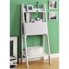 Edith Ladder Style Bookcase - Drop-Down Desk, White - MNRH-I-7040