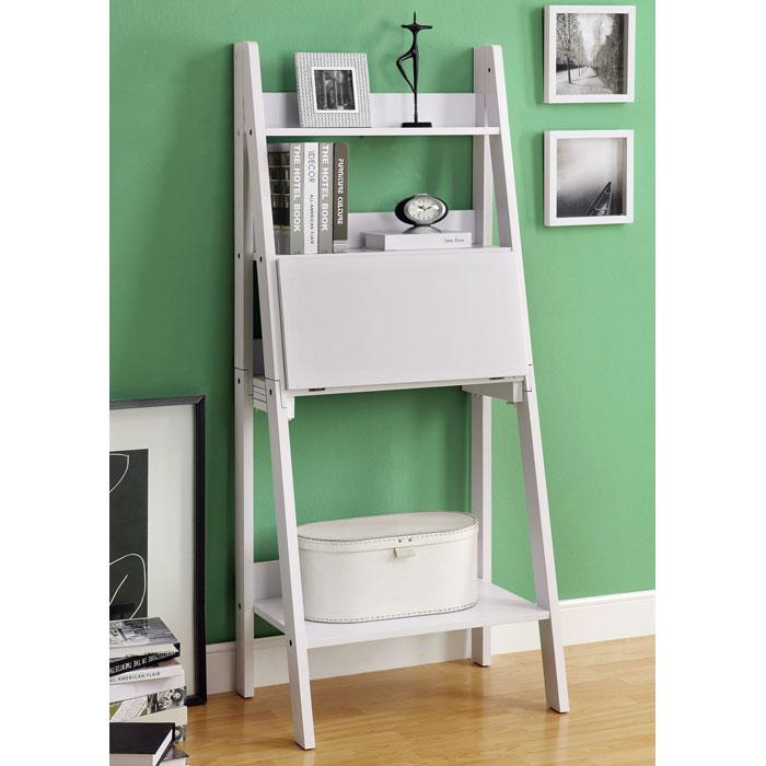 Edith Ladder Style Bookcase - Drop-Down Desk, White - MNRH-I-7040