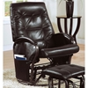 Levitt Swivel Rocking Chair with Ottoman - Brown Leather Look - MNRH-I-7273