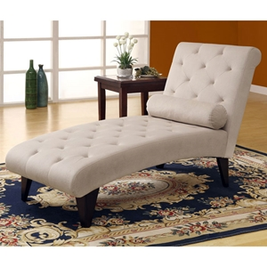Rocha Chaise Lounge - Taupe Velvet Fabric, Tufted