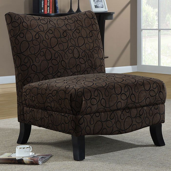 Brussels Accent Chair Brown Chenille Fabric Loop
