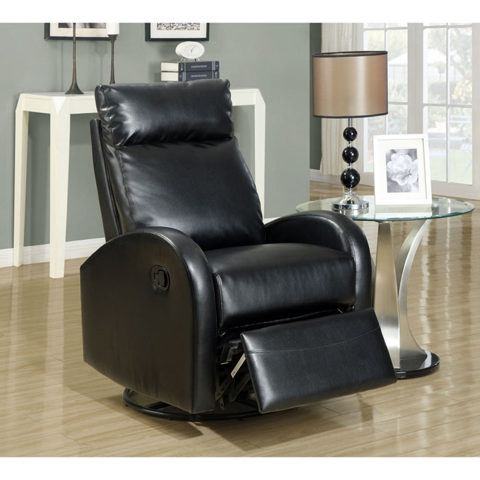 Bernoulli Leather Rocker Recliner - Swivel, Black - MNRH-I-8080BK