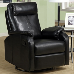 Corleone Rocker Recliner - Swivel, Pillow Top Arms, Black