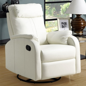 Corleone Rocker Recliner - Swivel, Pillow Top Arms, Ivory