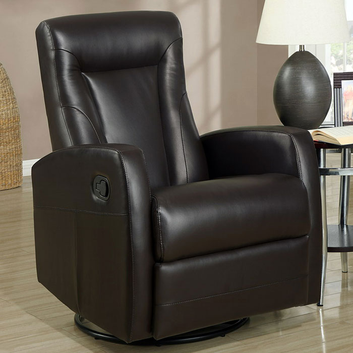 Clemenza Leather Rocker Recliner - Track Arms, Dark Brown - MNRH-I-8082BR