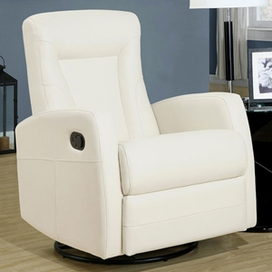 Clemenza Leather Rocker Recliner - Track Arms, Ivory
