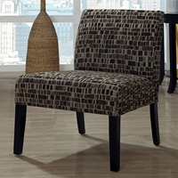 Cotillard Accent Chair - Brick Patterned Fabric, Tan & Brown