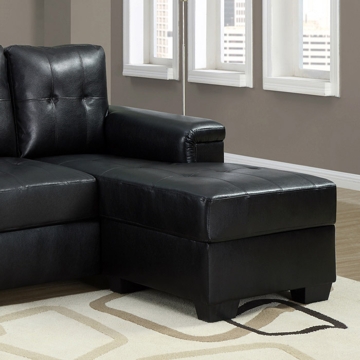 Michaelson sectional sofa right facing chaise black for Black leather couch with chaise