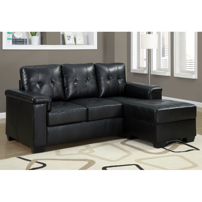 Michaelson sectional sofa right facing chaise black for Black leather sectional with chaise
