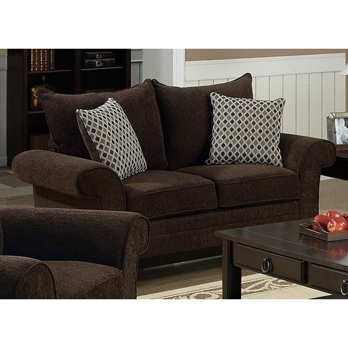 Lavanchy Loveseat - Chocolate Chenille, 2 Accent Pillows - MNRH-I-8732CH