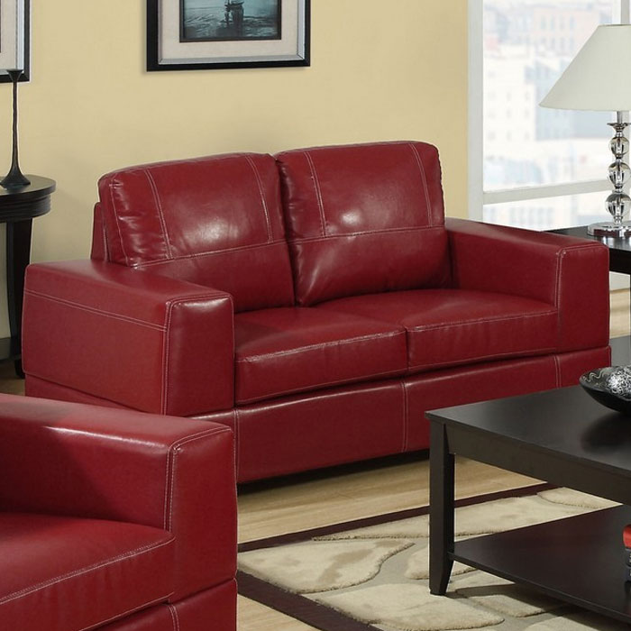 Anatole Loveseat - Contrast Stitching, Red Leather - MNRH-I-8752RD