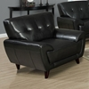 Eugene Armchair - Tufted Backrest, Black Leather - MNRH-I-8801BK