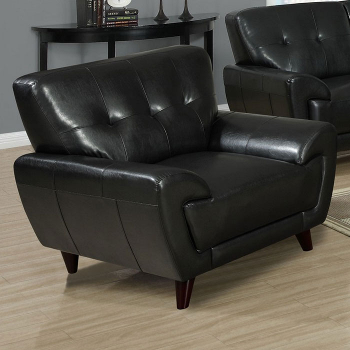 Eugene Armchair Tufted Backrest Black Leather