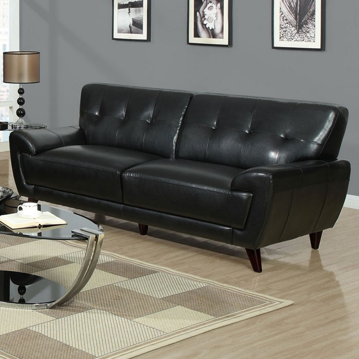 Eugene Modern Sofa Flared Arms Black Leather Dcg Stores