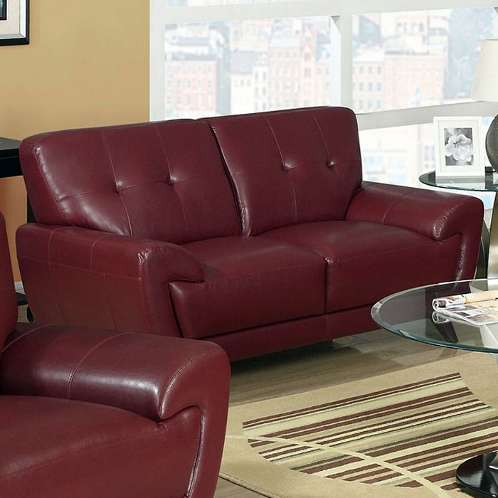 Eugene Leather Loveseat Flared Arms Red Dcg Stores