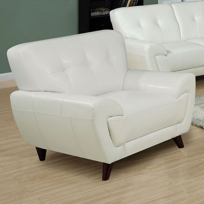 Eugene Armchair Tufted Backrest White Leather Dcg Stores