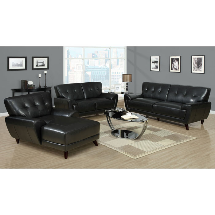 Eugene Leather Loveseat Flared Arms Black Dcg Stores